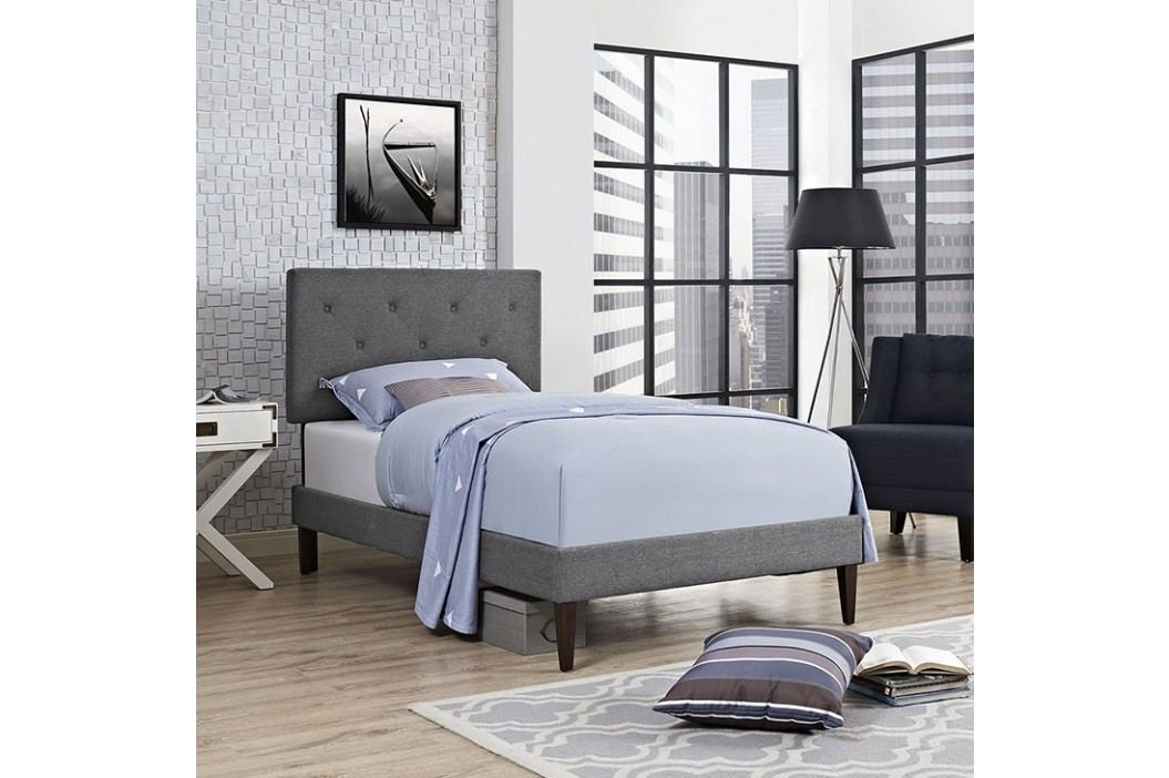 Terisa Twin Fabric Platform Bed with Squared Tapered Legs in Gray Beds