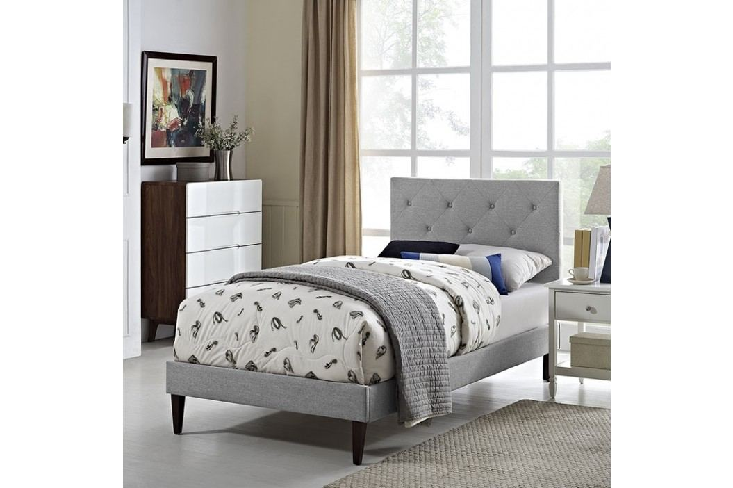 Terisa Twin Fabric Platform Bed with Squared Tapered Legs in Light Gray Beds