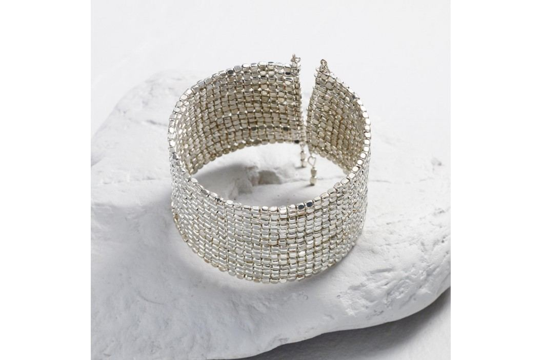 Silver Metal Beaded Cuff Bracelet by World Market Products