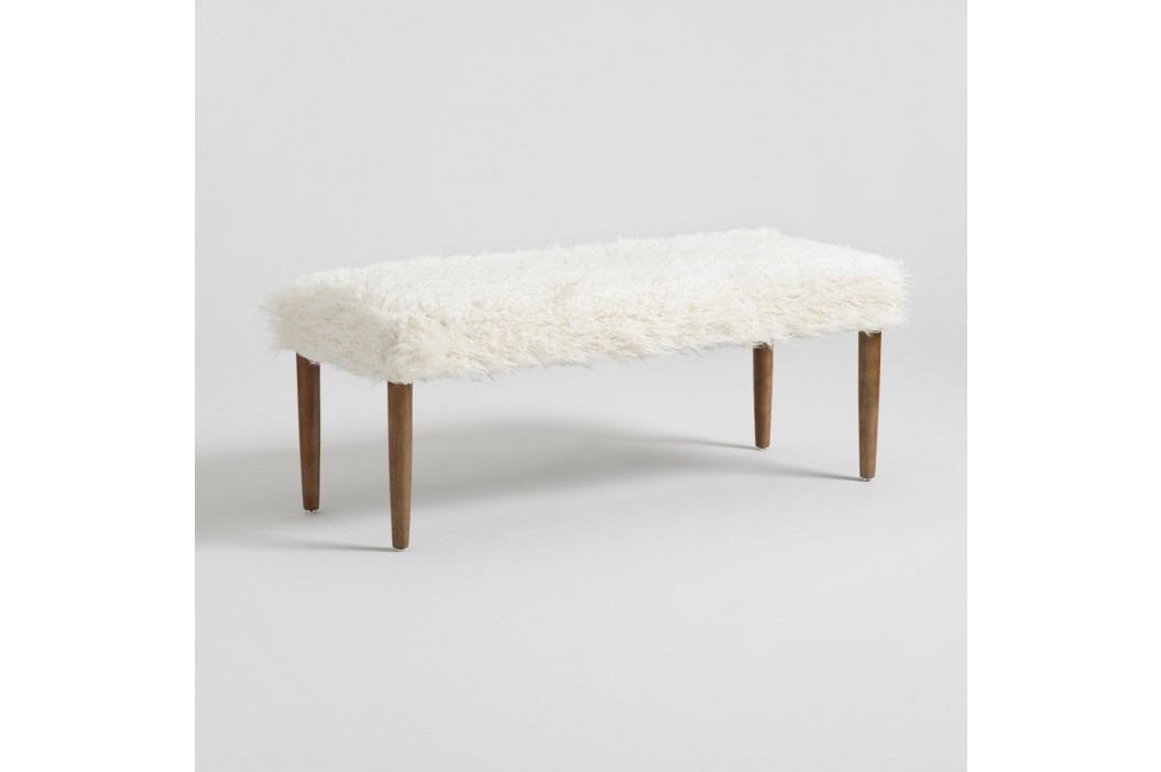 Ivory Faux Flokati Chloe Dining Bench by World Market Decor