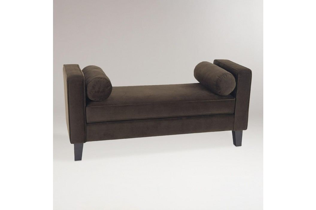 Chocolate Velvet Taylor Bench with Bolsters: Brown - Fabric by World Market Products