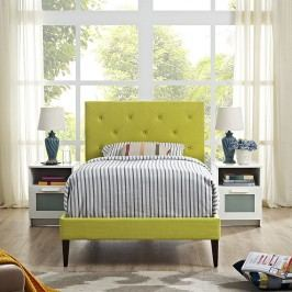 Terisa Twin Fabric Platform Bed with Squared Tapered Legs in Wheatgrass