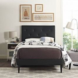 Terisa Twin Vinyl Platform Bed with Round Tapered Legs in Black