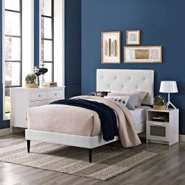 Terisa Twin Vinyl Platform Bed with Round Tapered Legs in White