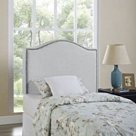 Curl Twin Nailhead Upholstered Headboard in Sky Gray