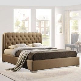 Amelia Queen Fabric Bed in Latte