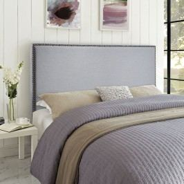 Region Queen Nailhead Upholstered Headboard in Sky Gray