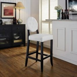 Button Bar Stool in White