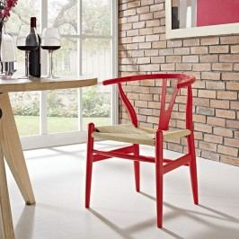 Amish Dining Wood Armchair in Red