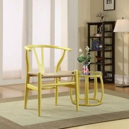 Amish Dining Wood Armchair in Yellow