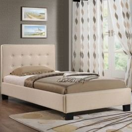 Caitlin Twin Fabric Bed in Beige