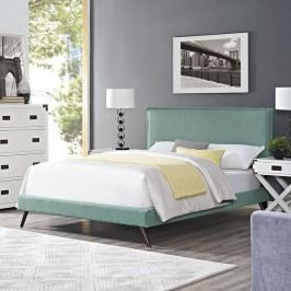 Camille Full Fabric Platform Bed with Round Splayed Legs in Laguna