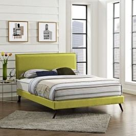 Camille Full Fabric Platform Bed with Round Splayed Legs in Wheatgrass