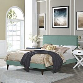 Camille Full Fabric Platform Bed with Squared Tapered Legs in Laguna