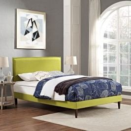 Camille Full Fabric Platform Bed with Squared Tapered Legs in Wheatgrass