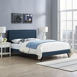 Camille King Fabric Platform Bed with Round Splayed Legs in Azure