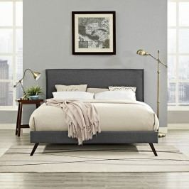 Camille King Fabric Platform Bed with Round Splayed Legs in Gray