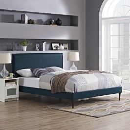 Camille King Fabric Platform Bed with Round Tapered Legs in Azure