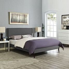 Camille King Fabric Platform Bed with Round Tapered Legs in Gray