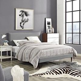 Camille King Fabric Platform Bed with Round Tapered Legs in Light Gray