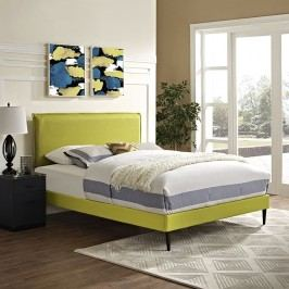 Camille King Fabric Platform Bed with Round Tapered Legs in Wheatgrass