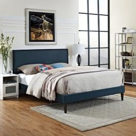 Camille King Fabric Platform Bed with Squared Tapered Legs in Azure