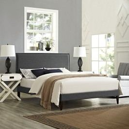 Camille King Fabric Platform Bed with Squared Tapered Legs in Gray