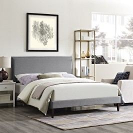 Camille King Fabric Platform Bed with Squared Tapered Legs in Light Gray