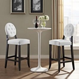Button Bar Stool Set of 2 in White