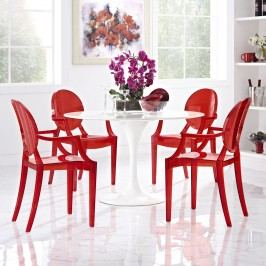 Casper Dining Armchairs Set of 4 in Red