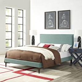 Camille Queen Fabric Platform Bed with Round Tapered Legs in Laguna