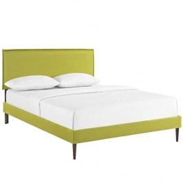 Camille Queen Fabric Platform Bed with Round Tapered Legs in Wheatgrass