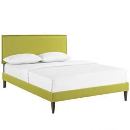Camille Queen Fabric Platform Bed with Squared Tapered Legs in Wheatgrass