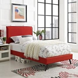 Camille Twin Fabric Platform Bed with Round Splayed Legs in Atomic Red