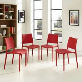 Hipster Dining Side Chair Set of 4 in Red