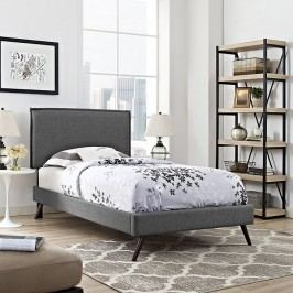 Camille Twin Fabric Platform Bed with Round Splayed Legs in Gray
