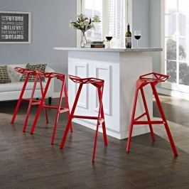 Launch Stacking Bar Stool Set of 4 in Red