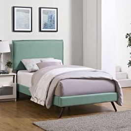 Camille Twin Fabric Platform Bed with Round Splayed Legs in Laguna
