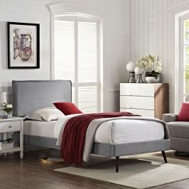 Camille Twin Fabric Platform Bed with Round Splayed Legs in Light Gray