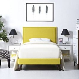 Camille Twin Fabric Platform Bed with Round Splayed Legs in Sunny
