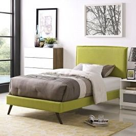 Camille Twin Fabric Platform Bed with Round Splayed Legs in Wheatgrass