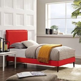 Camille Twin Fabric Platform Bed with Round Tapered Legs in Atomic Red