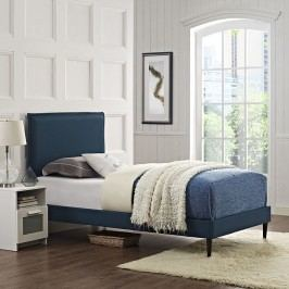 Camille Twin Fabric Platform Bed with Round Tapered Legs in Azure