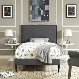 Camille Twin Fabric Platform Bed with Round Tapered Legs in Gray