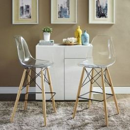 Pyramid Dining Side Bar Stool Set of 2 in Clear