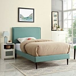 Camille Twin Fabric Platform Bed with Round Tapered Legs in Laguna