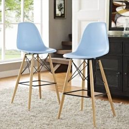 Pyramid Dining Side Bar Stool Set of 2 in Light Blue