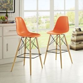 Pyramid Dining Side Bar Stool Set of 2 in Orange