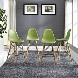 Pyramid Dining Side Bar Stool Set of 4 in Light Green