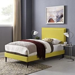 Camille Twin Fabric Platform Bed with Round Tapered Legs in Sunny